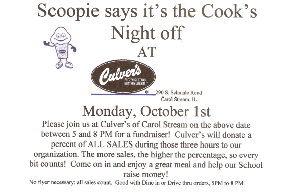 Culver's Mon Oct 1st 5-8PM